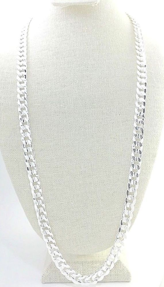Mens 10mm Cuban Curb Chain 24 Textured Smooth Links 925 Sterling Silver Unbranded Delicate Silver Necklace Gold Chains For Men Mens Sterling Silver Necklace