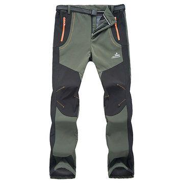 Mens Outdoor Sport Pants Elastic Waist Soft Shell Warm Fleece Lining Waterproof …
