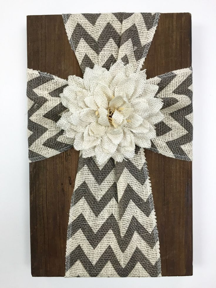 Chevron burlap cross on stained reclaimed wood