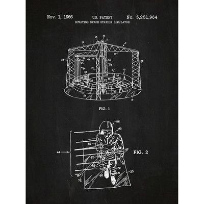 Inked and Screened Tech and Gadgets 'Rotating Space Station' Silk Screen Print Graphic Art in Chalkboard/White Ink