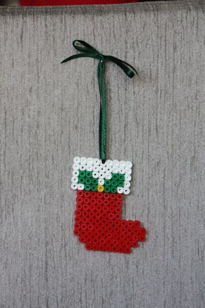 Christmas perler bead stocking