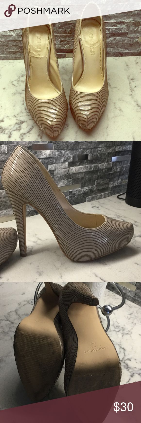 """Beautiful Colin Stuart Dress 👠 . EUC Tan nude color. Semi pointed toe. 4+ """" heel.  Never worn by me, purchased from a top selling Posh Sister. Colin Stuart Shoes Heels"""