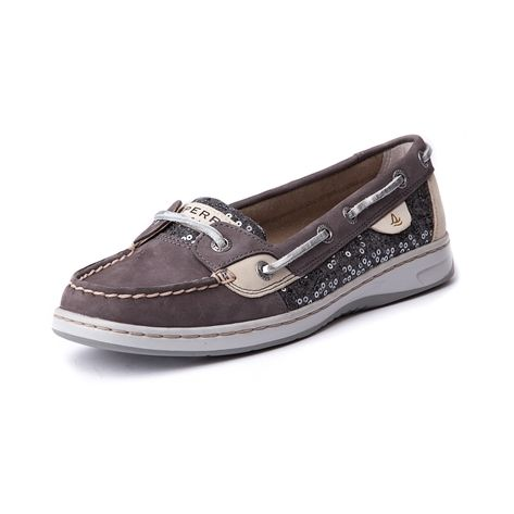 Shop for Womens Sperry Top-Sider Angelfish Boat Shoe in Gray at Journeys Shoes. Shop today for the hottest brands in mens shoes and womens shoes at Journeys.com.Classic Angelfish skimmer from Sperry, featuring a leather upper with wool-sequin side panels, top stitching on toe, and leather laces. Available exclusively at Journeys and SHI!