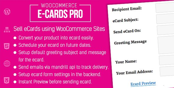 WooCommerce Ecards Pro . A WooCommerce extension to sell ecards using your wordpress site. eCard is a electronic card to send online greeting messages with image to your friends & family. Using this plugin, visitors can send ecards for any occasion. Visitors can schedule ecards to send in future date as well to make sure