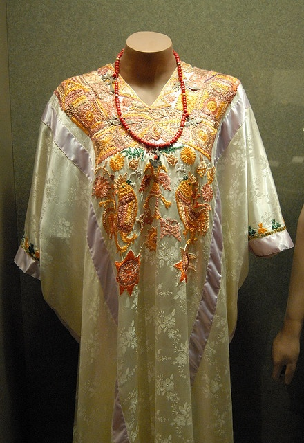 Mixtec wedding huipil    This is a magnificent wedding huipil worn by Mixtec brides from the community of Huazolotitlan on the Pacific coast of Oaxaca Mexico. The woman keeps the huipil to be buried in but will never wear it again in life. National anthropology museum Mexico City