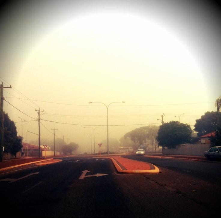 Morning fog in Kalgoorlie Boulder