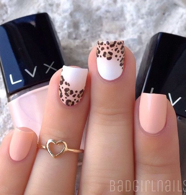 Pastel inspired leopard nail art design. The bright and simple look of this design coupled with the really light colors give it a homey and serene vibe.