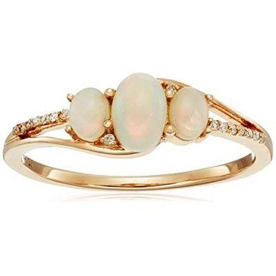 Rings, Amazon Collection, 0.50 Carat Genuine Ethiopian Opal & White Diamond 14K Yellow Gold Ring