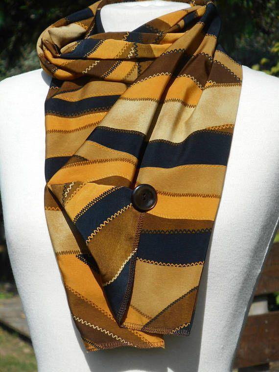 grande écharpe foulard femme ocre jaune moutarde kaki et noir