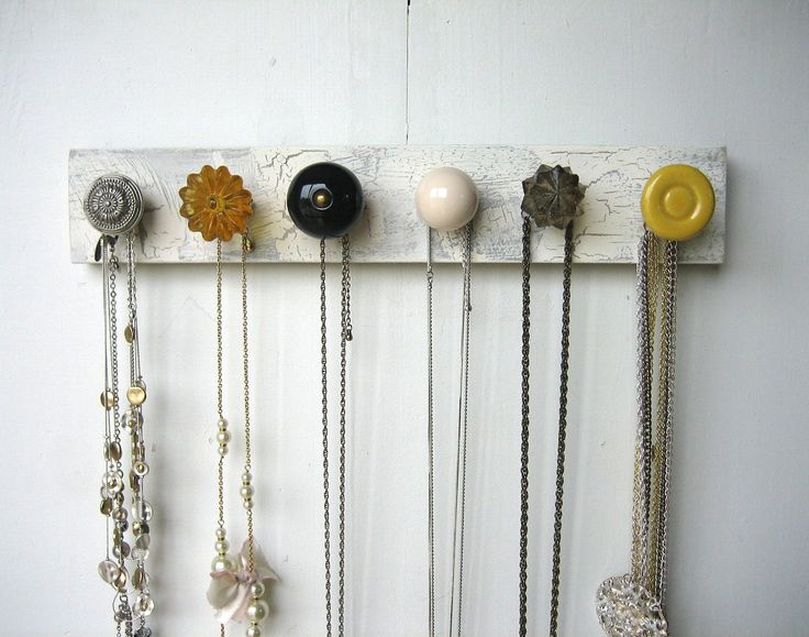 knobs for hanging pictures | Hanging Jewelry Organizer with Yellow and by AuntDedesBasement
