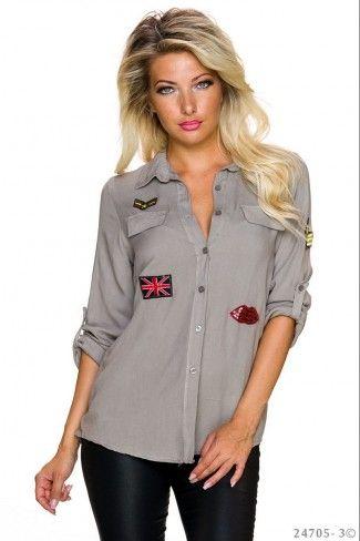 Μονόχρωμο ασύμμετρο πουκάμισο - Ανοιχτό Γκρι