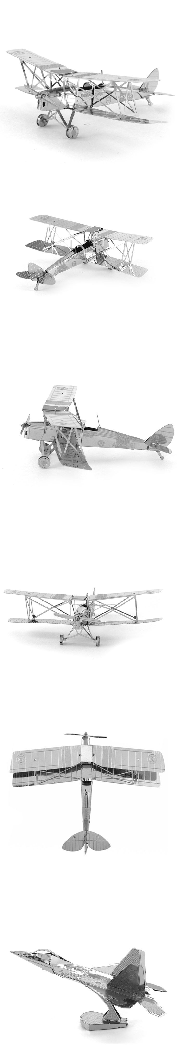 11 Styles Fighter Bomber Tiger Moth Aircraft F-22 DIY Model 3D Metal Puzzle Solid Assemble Jigsaw Puzzle Kids Toys For Adult