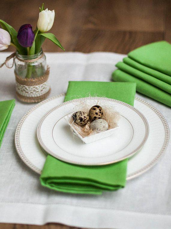 Green napkins set of 6 Light green linen napkins Easter