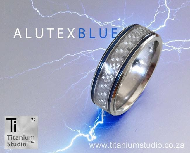 Alutex and blue resin inlay titanium ring
