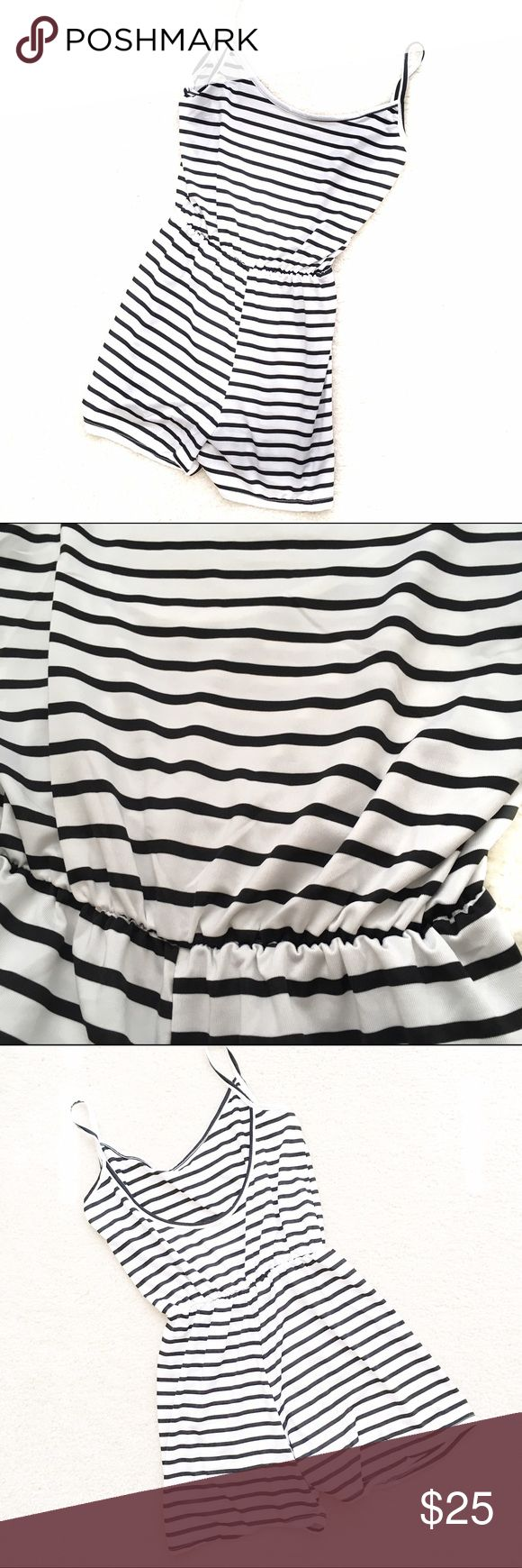 Romper Bathing Suit Cover-up Spaghetti strap romper in black and white striped. Very thin soft fabric (polyester blend) perfect for a bathing suit cover up. Faintly sheer fabric. SIZING INFO: Chinese sizing Medium equals US sizing XS/S however this seems to run on the small size. Please see images for manufacturer sizing info and feel free to message me for extra measurements, to ensure proper fit. Pants Jumpsuits & Rompers