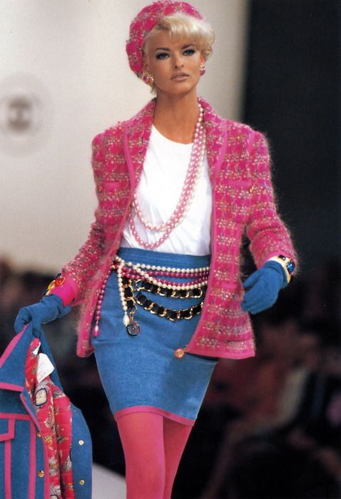 CHANEL - Vintage -  FW 1991 - Model: Linda Evangelista  *k...i hope nobody would seriously wear this unless you wanted to look like a barbie that the good fairies in sleeping beauty messed the colors up on  <_