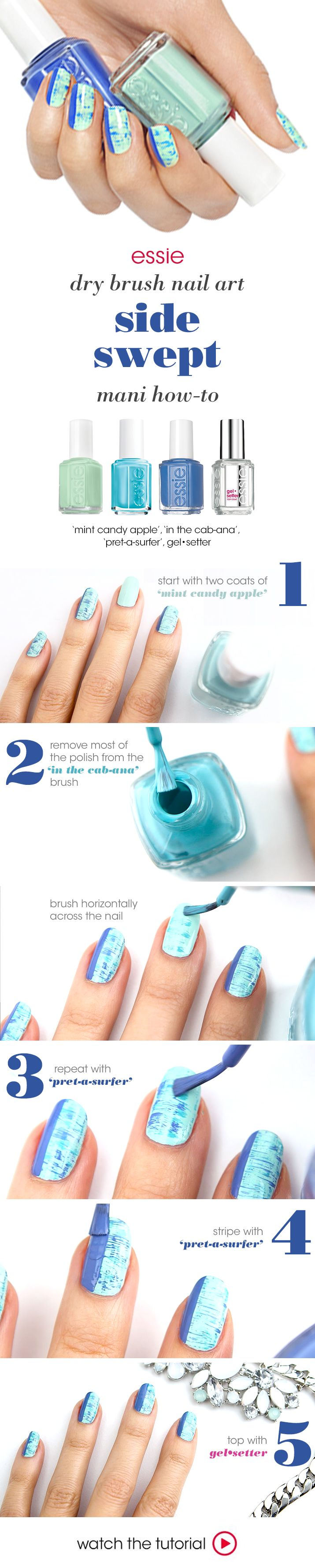oceanic shades of blue and mint make for nail art that's one part calm seas, one part stormy water