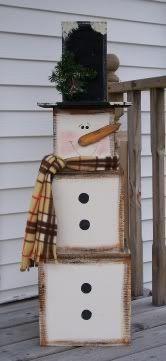 Wood Nestling Snowman