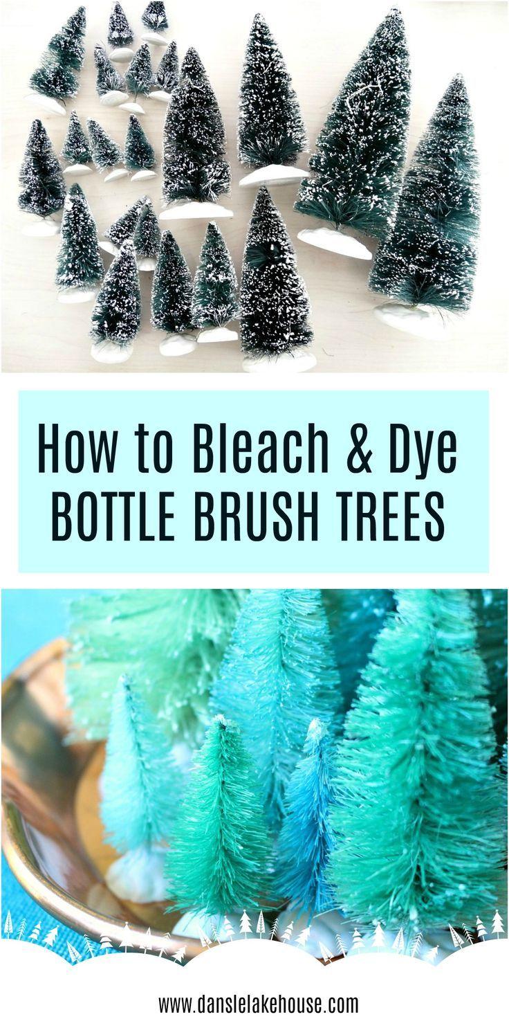 Diy Dyed Bottle Brush Trees Styling A Narrow Mantle Dans Le Lakehouse Bottle Brush Christmas Trees Diy Dye Bottle Brush Trees