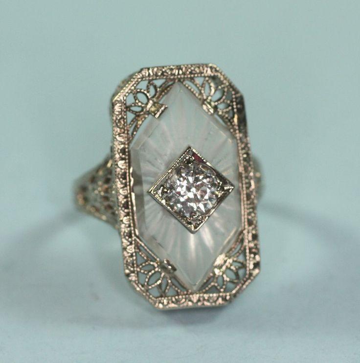 Art Deco 14K White Gold Camphor Glass Diamond Ring Signed - unique jewelry