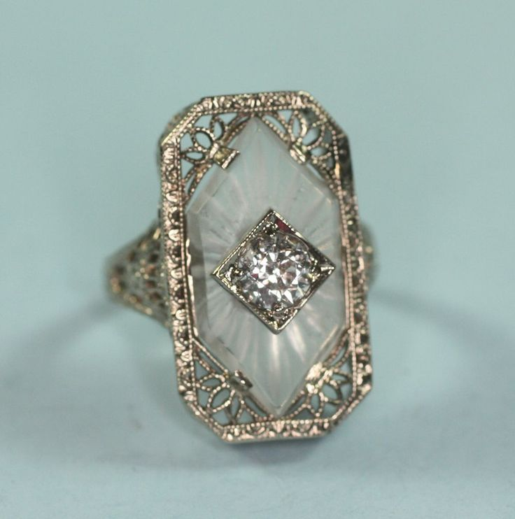 Art Deco 14K White Gold Camphor Glass Diamond Ring Signed from pastsplendors on Ruby Lane