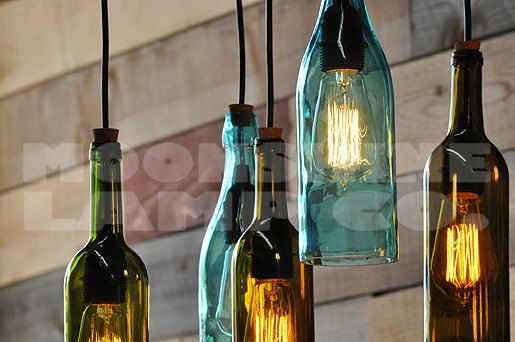 Lampadario bottiglia riciclata The Napa di MoonshineLamp su Etsy