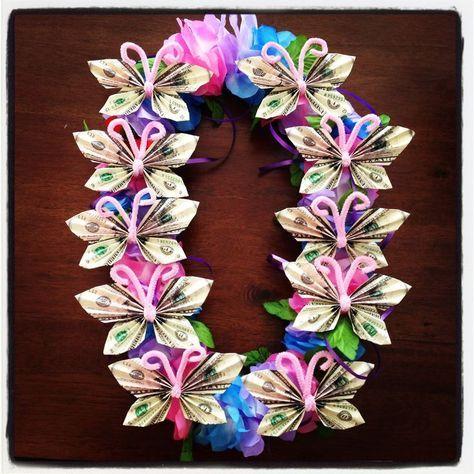 Butterfly money lei   Leis   Pinterest