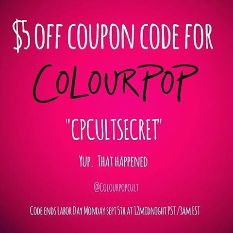 colourpopfun: You want a $5 off coupon code? You got it  thank you so much @colourpopcosmetics (homie) & @colourpopcult  available until tomorrow(9/5) @ midnight / 3 AM EST! So pick up ya faves, or that lippie stix you've been eyeing  because it's technically free if you use the code  Spend $30 or more for FREE SHIPPING (US only) LINK IN BIO for the fall edit collection #colourpopcosmetics #colourpopfun #colourpopcult #colourpop