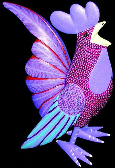 Tequila Bay - Fine Mexican Art and Artifacts - Oaxacan Wood Carving Purple Rooster