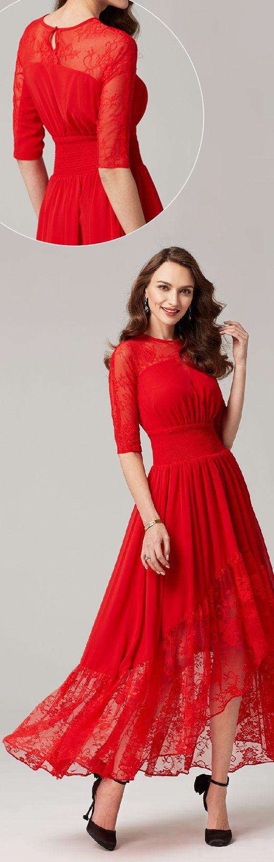 A-Line Illusion Neckline Asymmetrical Chiffon Lace Formal Evening Dress with Lace Sash / Ribbon Pleats