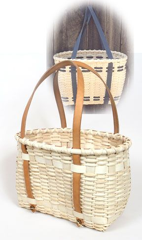 New England Tote Basket with Leather Handles