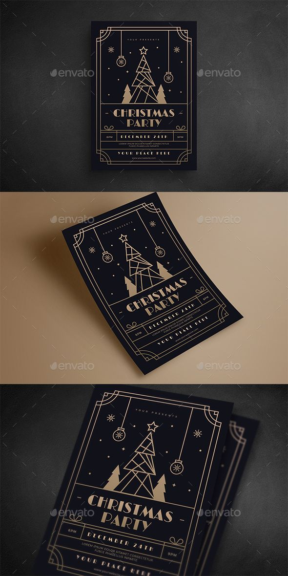 Christmas Gold Deco Event Flyer #greeting card #art deco Download : graphicriver...