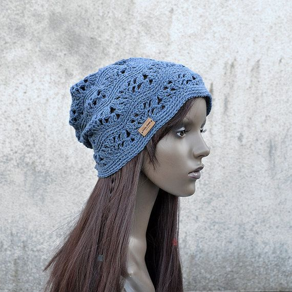 Lacy Crochet Hat in Dark Old Jeans Cool Hat Hippie by acrazysheep
