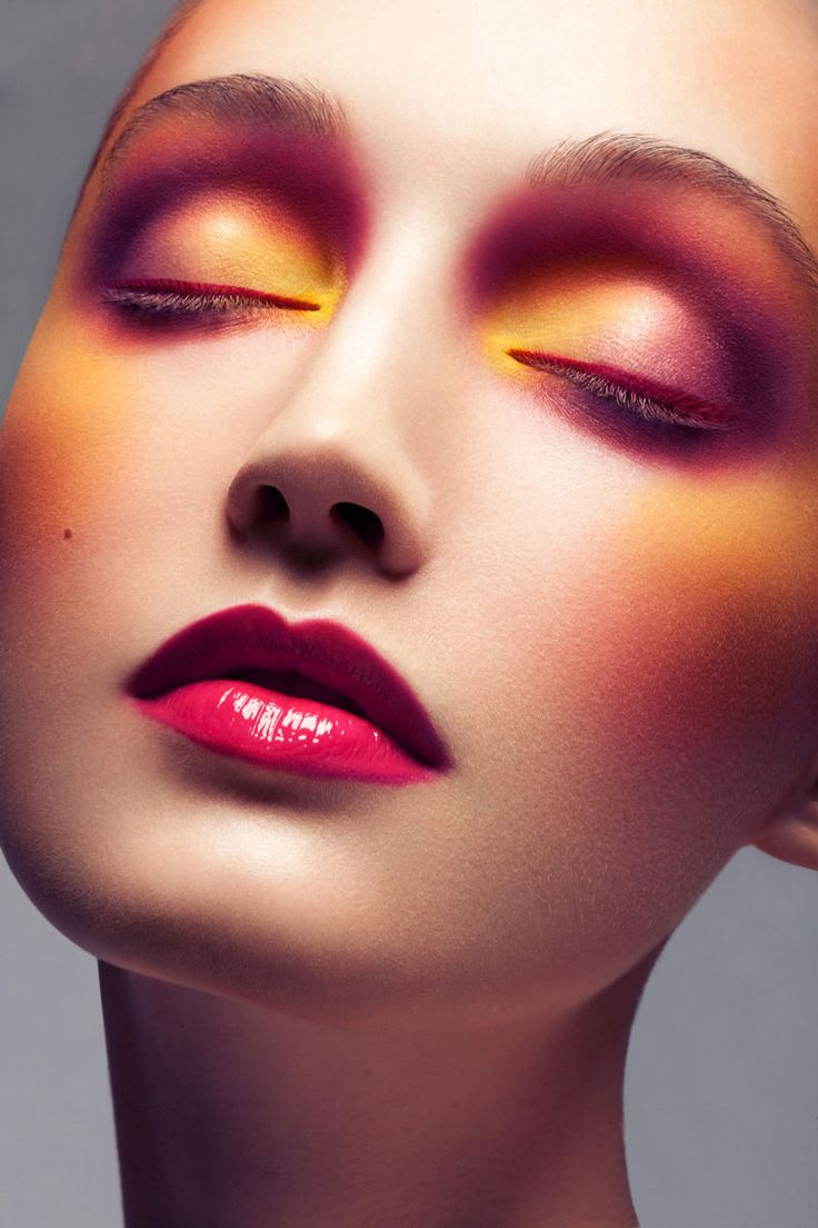 Color Lesson – Brittany Hollis (Trump Models) dons colorful beauty looks in Jeff Tse's stunning portraits. A rainbow of hues by makeup artist Dominique Samuel and messy tresses give Brittany a striking palette. / Production by Emily Bishop