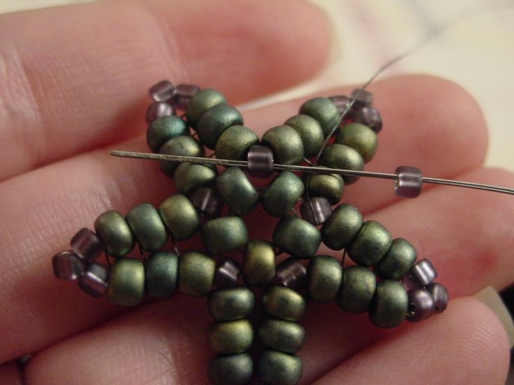 seed bead starfish pattern | Make sure that your Fireline is exiting the 8 in…