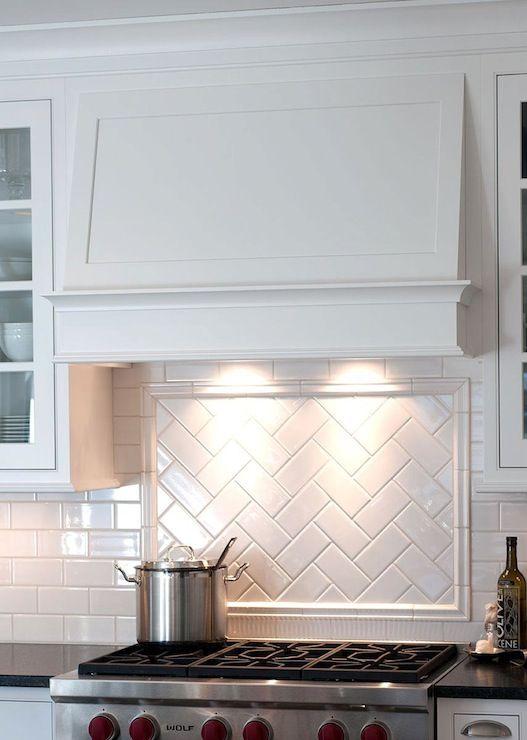 herringbone patterned accent panel