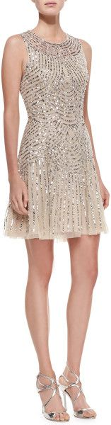 Sequined Beaded Deco Cocktail Dress - Lyst