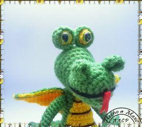 Dragón Amigurumi - Patrón Gratis en Español aquí: http://creandomingumiosdeesos.blogspot.com.es/2014/08/reto-50-amigurimis-n-17-dragon.html?m=1