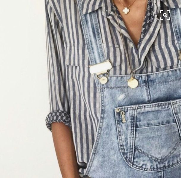 $50 Cute Grey And White Striped Blouse With Oversized Light Wash Blue Denim Dungarees One Piece Romper Simple Minimalist Gold Jewellery