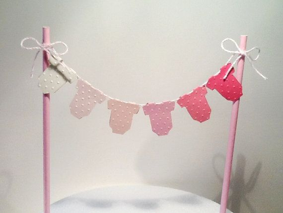 Cake Bunting/Cake Topper/Cake Banner. Pink Ombre Baby One Piece, Baby Shower - Gender Reveal - Newborn Announcement - Childs Birthday.