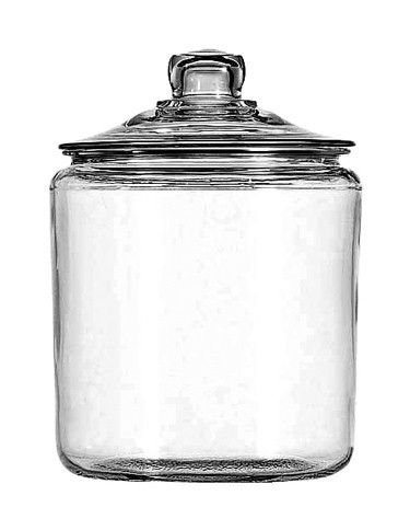 1 Gallon Glass Jar with Lid (69349T) America's favorite classic jar. The Heritage Hill series by Anchor Hocking is a timeless piece that is useful in every room of the house or store! Use them for flo