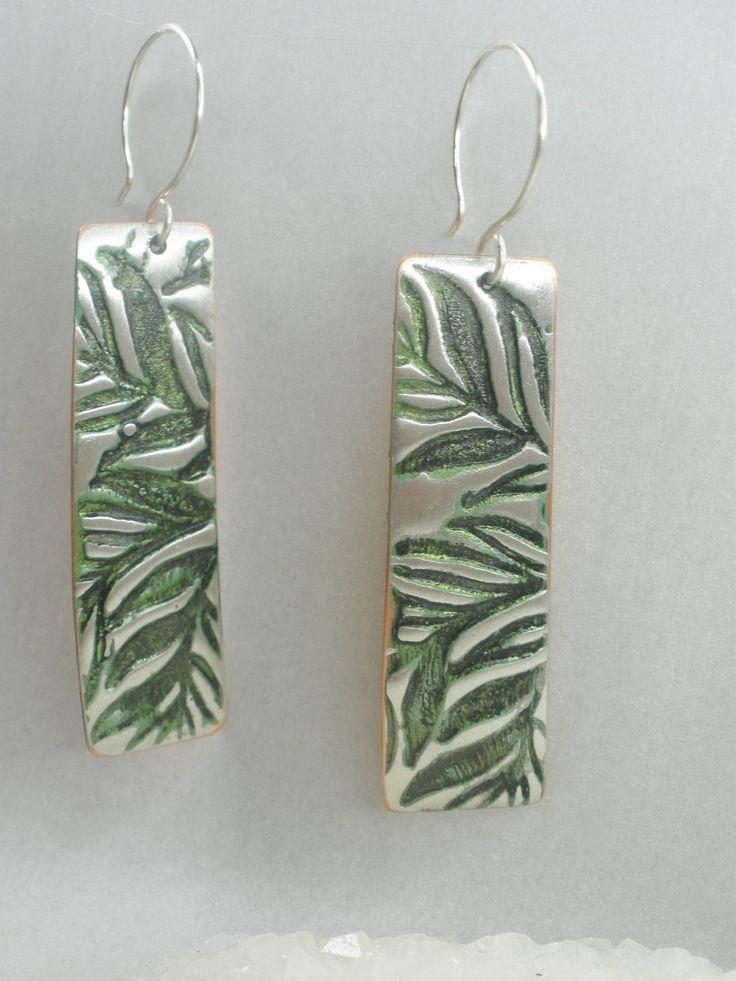 Fern silver earrings, rustic earrings, ethnic jewelry, tinned silver, recycled copper jewelry, dangle earrings, wearable art, artist design by ArtandSoulStudios on Etsy