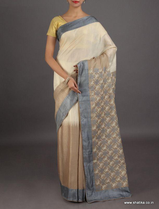 Chetna half and half with embroidered pallu #chikankarisilksaree