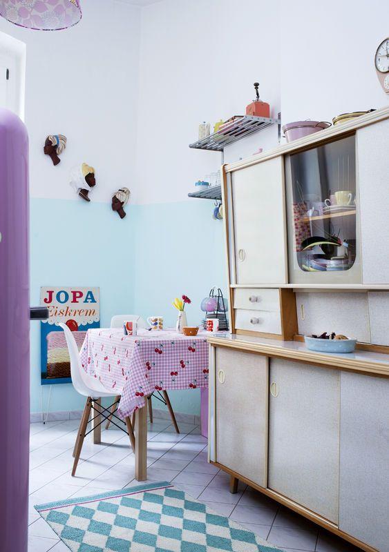 Pastelowa kuchnia vintage