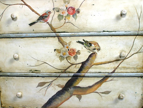 Handpainted Birds Motif Chest Of Drawers   Detail