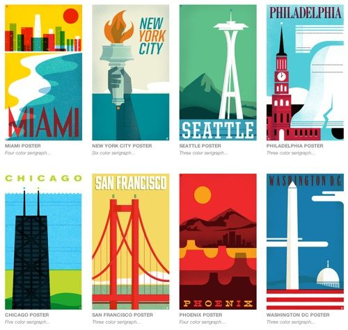 "Philadelphia-based design studio The Heads of State created a lovely poster series called ""From Sea To Shining Sea."""