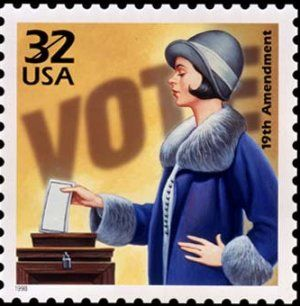 U.S. Congress approves the 19th Amendment to the Constitution allowing women to vote.