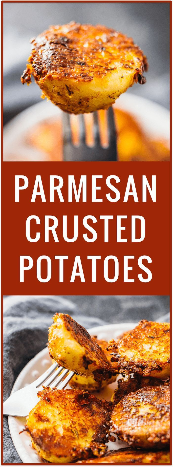 crispy parmesan crusted potatoes | crispy parmesan potatoes | parmesan upside down baked potatoes | parmesan roasted baby potatoes | easy simple appetizer recipe | side dish | party food via /savory_tooth/ Try this with turnips or radishes instead of potatoes for a low carb option