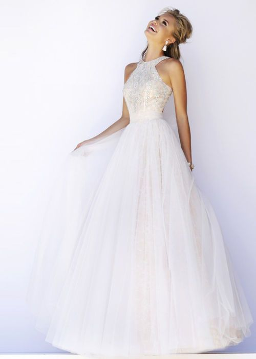 Ivory Halter High Neck Open Back Beaded Tulle Long Pageant Dress [Sherri Hill 32218 Ivory] - $203.00 : Prom Dresses 2015,Wedding Dresses & Gowns On Sale,Buy Homecoming Dresses From Ailsadress.com