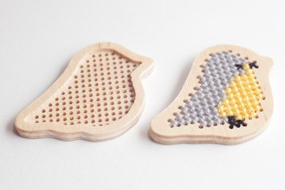 Cross stitch blanks in bird shape / plywood by TinyLizardGifts, $7.00